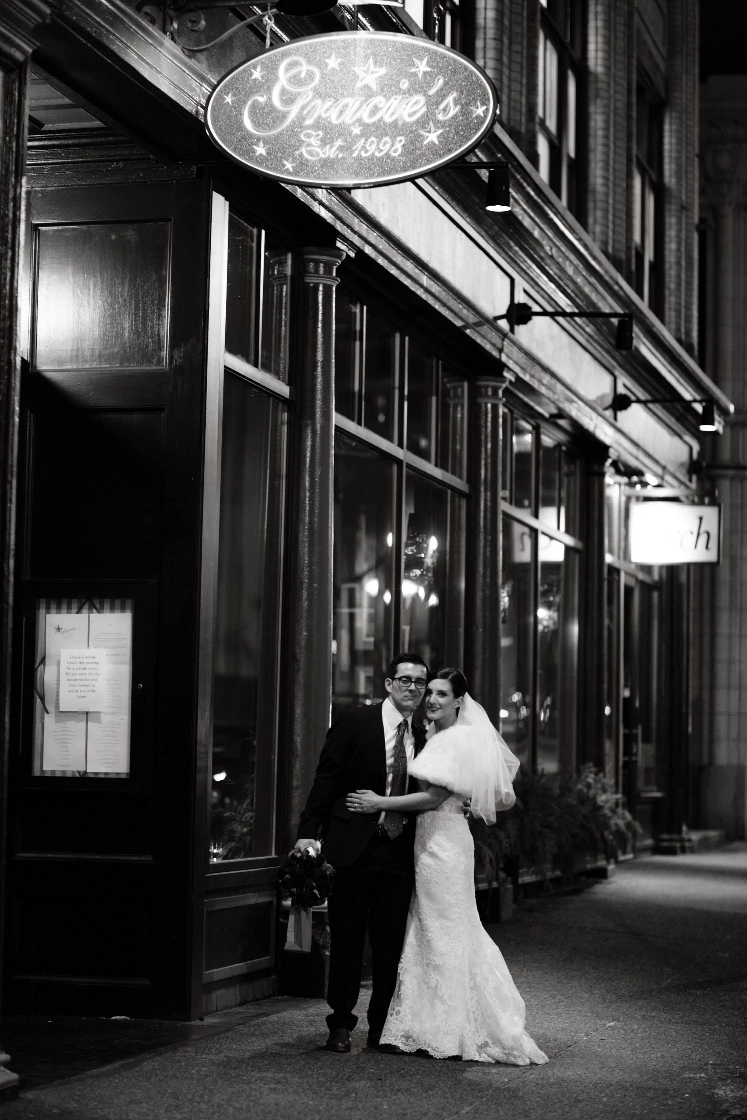 Bride and groom at their wedding reception at Gracie's Providence